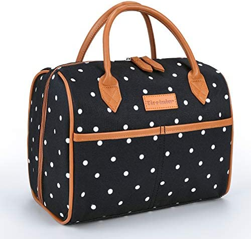 Tirrinia Insulated Lunch Tote Bag for Women w Leather Handle Fashionable Lunch Box for Men Kids product image
