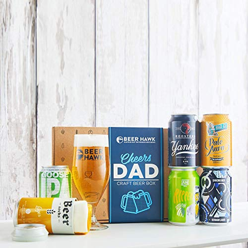 Cheers Dad Craft Beer Gift Set by Beer Hawk with 5 Beer Cans 1 Glass and Beer Socks - Ideal Craft Beer Gift Hamper for Dad with Beer Glass and Beer Socks - The Craft Beer Gift for Beer Lovers
