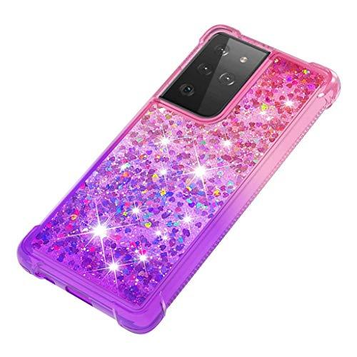 GOGME Funda para Samsung Galaxy S21 Ultra 5G Estuche, Degradado Color Glitter Liquida Cristal Ultradelgado Suave Silicona TPU Bumper Carcasa [Cuatro Esquinas y Protección de Cámara], Rosado/Púrpura