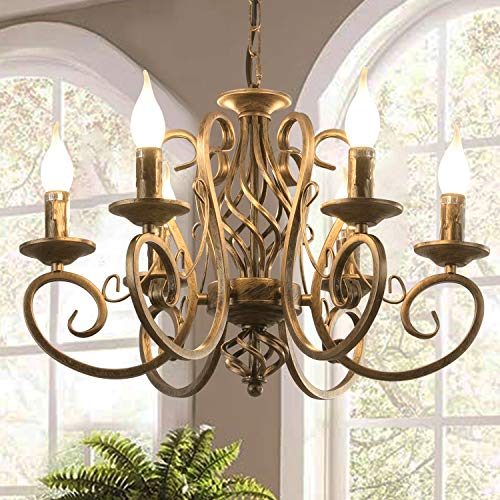 Ganeed French Country Chandeliers,6 Lights Candle Wrought...