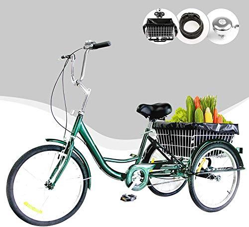 """Z ZELUS 24"""" Triciclo para Adultos Bicicleta de Tres Rueda con Capacidad de 100 kg Triciclo con Cesta Adult Tricycle para IR a Hacer Compra, Deporte, Picnic (Verde)"""
