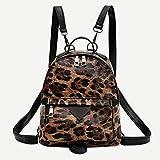 MAID Moda útil estilo de moda serpiente animal imprimir hombro Crossbody bolsas mujeres pequeñas piel PU mochila mochila de piel sintética adecuada para sacar (color : negro, tamaño: A)