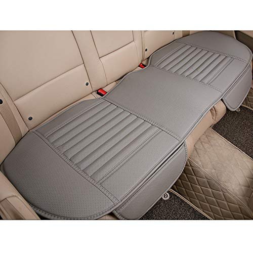 D-Lumina Back Seat Cover - Car Rear Seats Bottom Cushion, Auto Bench Protector, Grey Breathable PU Leather, Bamboo Charcoal Filled, Universal for 4 Season (51.97 X 23.23 Inch)