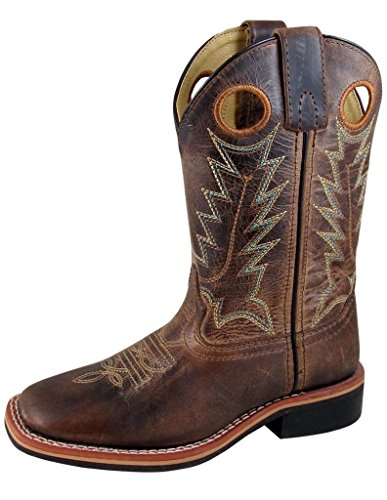 Smoky Mountain Boys Brown Distressed Jesse Square Toe Western Cowboy Boot,US 4.5,Brown Waxed Distress
