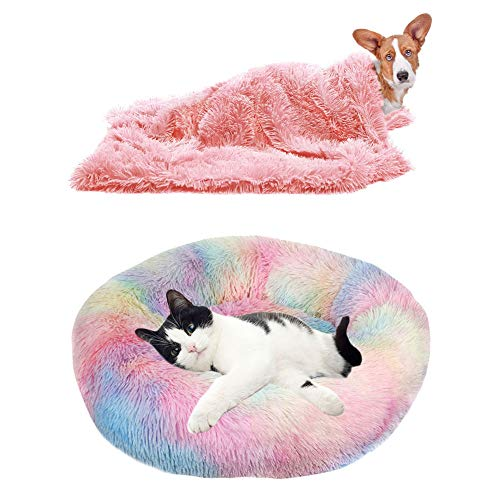 YiCTe Cat Bed Cute Dog Bed Washable Pet Bed Cushion Donut Dog Bed Extra Soft Comfortable and Suitable for Cats and Small Medium Large Dogs (70 cm/27 inch Diameter),Tie-dye Rainbow