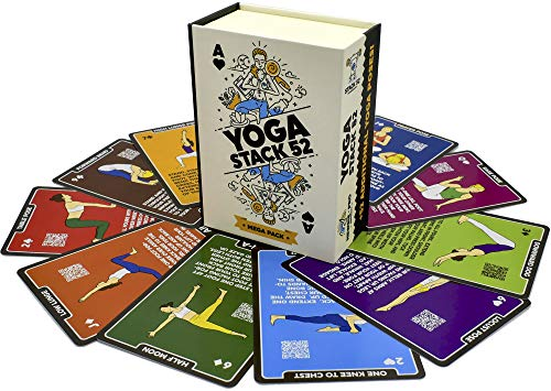 Stack 52 Yoga Exercise Cards: Designed by Certified Yoga Instructor. Video Instructions Included. Beginner to Advanced Poses and Asana Workout Games. Improve Fitness and Flexibility. (Mega Pack)