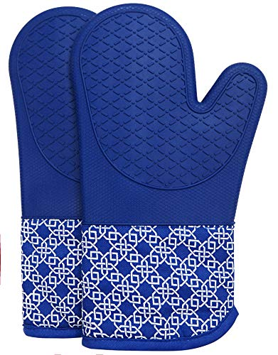 Oven Gloves Heat Resistant Silicone Shell Kitchen for 500 Degrees with waterproof, Set of 2 Oven Mitts with cotton lining for BBQ Cooking set Baking Grilling Barbecue Microwave Gauntlet Blue