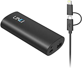 Portable Charger - [Apple Certified] uNu Superpak 5000mAh 2.1A External Battery Pack for iPhone 6 6S, 6 Plus,5S,5, Galaxy S6 Edge,Note 5 4 with 2-in-1 Lightning Cable 8Pin and MicroUSB Cable - Black
