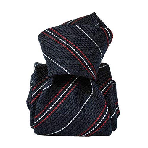 Segni et Disegni. Cravate grenadine. DAYTONA, Soie. Bleu, Club/rayé. Fabriqué en Italie.