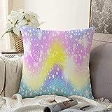 Almohada Estilo Decorativo Violeta Pastel Mármol Arco Iris Zig Estrellas Universo Rosa Zag Color Diseño de Estrella Unicornio Púrpura Cuadrado Cojín Cojín Cojín Funda de almohada para sofá, 18 'x18'