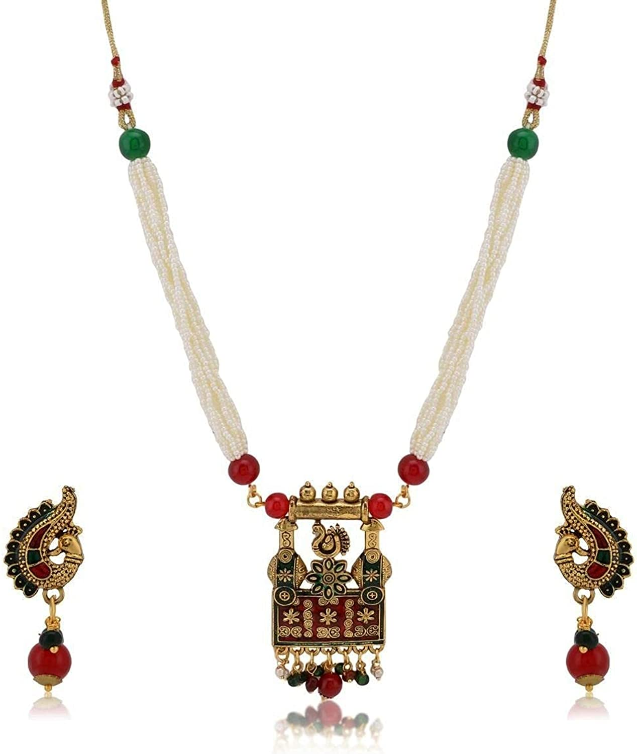 Efulgenz Indian Bollywood Antique Vintage Gold Plated Wedding Faux Pearl Strand Pendant Choker Collar Necklace Earring Jewelry Set