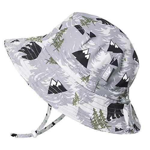 Jan & Jul Baby Jungen Newborn UV 50 Sonnen-Mütze Kordelzug Größen-verstellbar, Breite Krempe Bade-Hut für Sommer (S: 0-6 Monate, Bär)