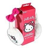 Hello Kitty HK8903W - Orejeras Tejidas para Audio con Diadema y Conector de 3.5 mm, Color Blanco