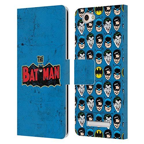 Head Hülle Designs Offizielle Batman DC Comics Verzweifeltes Logo Mode Vintage Leder Brieftaschen Handyhülle Hülle Huelle kompatibel mit Wileyfox Spark X