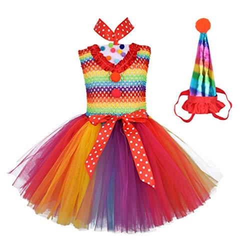 KESYOO Conjunto de Disfraces de Payaso para Niñas Vestido de Tutú de Payaso Arcoiris Y Conjunto de Diadema de Sombrero de Fiesta para Niños Disfraz de Carnaval de Navidad de Halloween