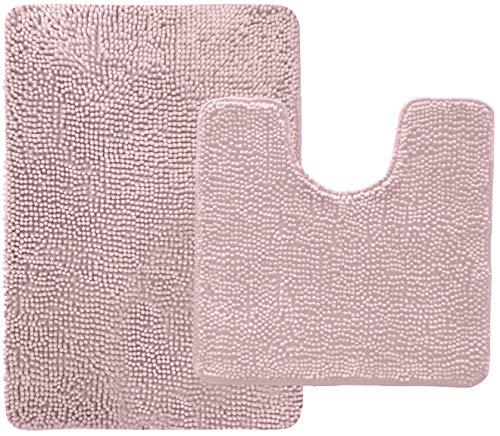 Gorilla Grip - Juego de 2 alfombras de felpilla Shaggy original, muchos colores, incluye alfombrilla de inodoro ovalada contorneada en forma de U y alfombras de baño de 30 x 20,...