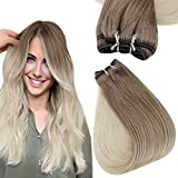 Easyouth Sew in Hair Extensions Human Hair Color 8 Light Brown to 60 Platinum Blonde Ombre Balayage Weft Hair Extensions Remy Hair Bundles for Women 20 Inch 100G
