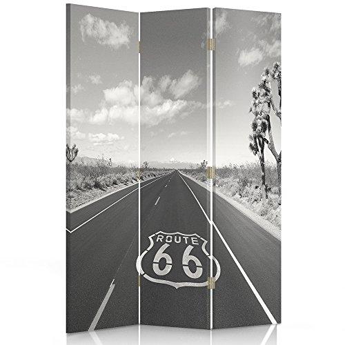 Feeby Frames Il paravento Stampato su Telo,Il divisorio Decorativo per Locali, unilaterale, bilaterale, a 3 o 4 Parti, Route 66, Nero E Bianco