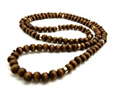 Fashion 21 Jet Black, Brown Tone 8mm 36' Wooden Bead Metal Connect Ball Bead Necklace (Brown + Gold Color Metal Joint)