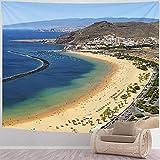 DJNGN Tapiz de Playa Tapiz de Gouache Colorido Playa De Las Teresitas Playa Tenerife Islas Canarias España Tapiz para Dormitorio, Dormitorio, decoración de Sala de Estar, 80x60 in