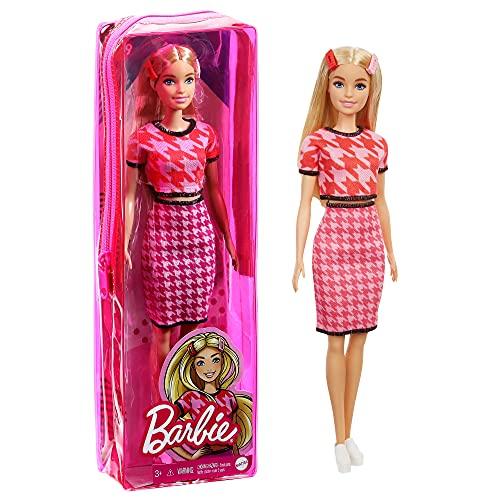 Barbie Fashionista Muñeca rubia con conjunto de falda y top pata de gallo y accesorios de moda de juguete (Mattel GRB59)