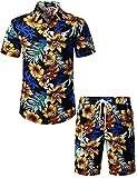 JOGAL Men's Flower Casual Button Down Short Sleeve Hawaiian Shirt Suits Black XX-Large