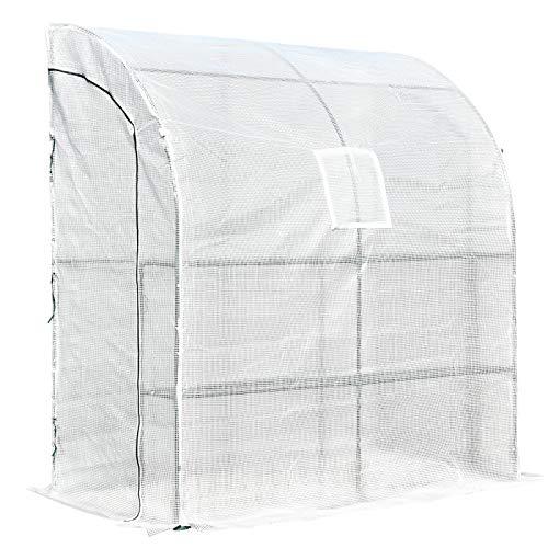 Outsunny Invernadero de Pared para Jardín Terraza con Estantes Ventana y 2 Puertas 200x100x215 cm Blanco PE