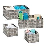 Relaxdays Juego Almacenamiento, Cuarto de baño, cuadradas, 3 tamaños, plástico, Cesta Trenzada, Color Gris, 4 Unidades