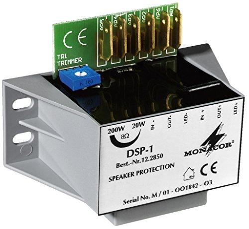 MONACOR Módulo de protección de Altavoz Mono DSP-1, contra la sobrecarga de los Altavoces de Tono Medio y Alto de Todas Las impedancias, por sobrenivel