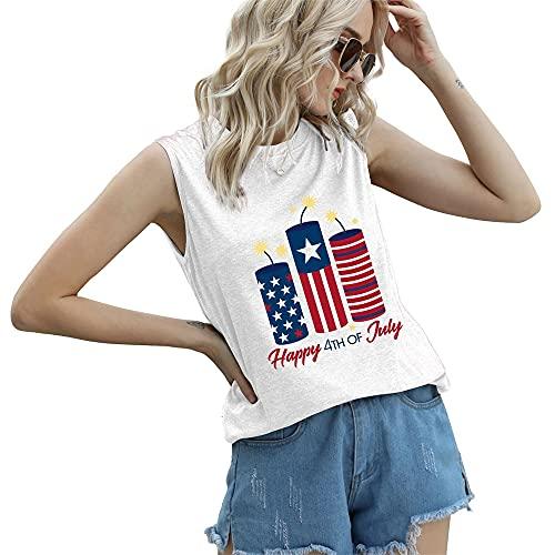 """Mayntop Camiseta de manga corta para mujer con diseño de bandera de Estados Unidos con texto en inglés """"God Bless"""" para el 4 de julio, C-blanco, 46"""