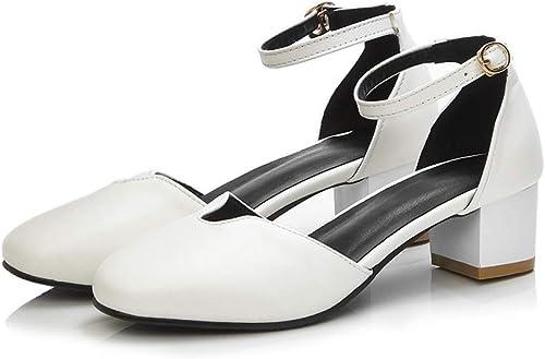 VIVIOO Grande Taille 34-42 34-42 Chaussures d'été Boucle Femmes Solides PU Pompes en Cuir Souple Med Talons Chaussures 4.5cm Chaussures de soirée de Mode  économisez jusqu'à 30-50%
