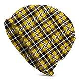 Lsjuee, gorro holgado de cuadros amarillos, fino, holgado, de verano, invierno, con calavera