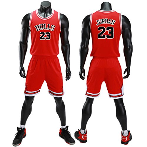 unbrand Ragazzi Uomo NBA Michael Jordan # 23 Chicago Bulls Retro Pantaloncini da Basket Summer Jerseys Basket Maglie Uniforme Top e Shorts