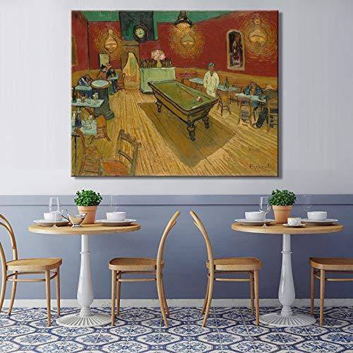 Van Gogh - The Night Cafe Leinwand Wandkunst Druck für Kunstwerke Gedruckt auf Poster Leinwand Malerei Wohnkultur Wohnzimmer-Rahmenlose Malerei70x90cm