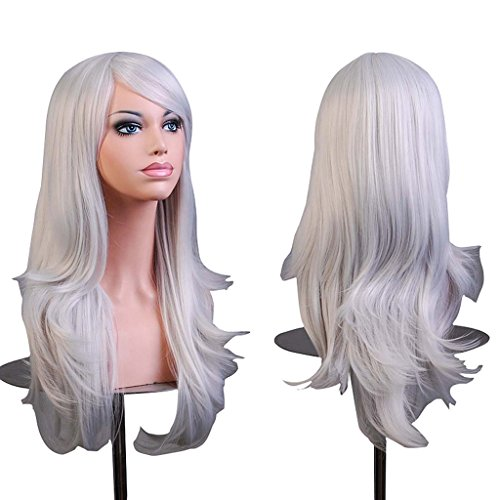"""AneShe Wigs 28"""" Long Wavy Hair Heat Resistant Cosplay Wig for Women (Silver Grey)"""