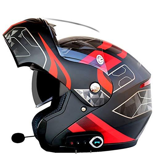 AZCX Bluetooth Integrado Casco de Motocicleta Modular ECE 22.05 certificación Dot Seguridad estándar-Full Face Racing Casco General de la Motocicleta,B,XL(61~62cm)