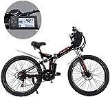 MJY Bicicletas de montaña eléctricas, batería de litio extraíble de 24 pulgadas Bicicleta de montaña eléctrica plegable con bolsa colgante Tres modos de conducción Adecuado 6-20,15ah / 720Wh