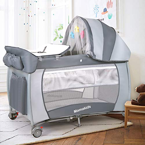 Hadwin Travel Cot Baby Crib with Mattress and Toys, Portable&Foldable Infant Girls Playpen Entryway with Mosquito Net and Carry Bag (Grey)