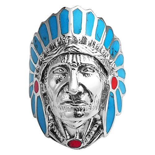 AeraVida Simulated Turquoise & Reconstructed Red Coral Accented Native American Style .925 Sterling Silver Ring (9)