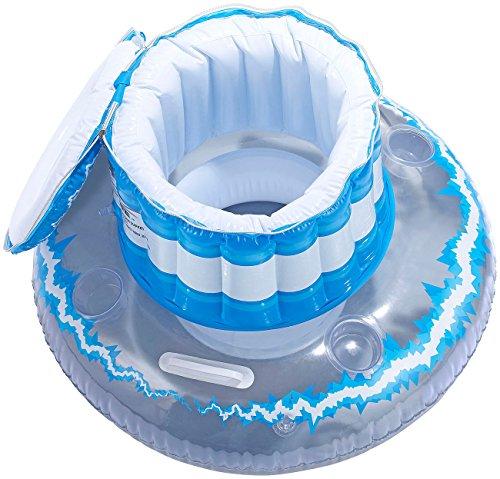 infactory Getränkehalter: Schwimmende Kühlbox mit Deckel und Becherhaltern, aufblasbar (Schwimmende Getränkehalter)