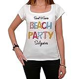 Salgueiros Beach Party, La Camiseta de Las Mujeres, Manga Corta, Cuello Redondo, Blanco