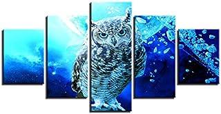 WMWSH Lienzo Pintura Arte De La Pared Cartel De Pared Modular 5 Panel Búho Azul Imagen De Impresión Moderna HD Decoración De La Sala De Estar En El Hogar