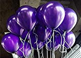 AMFIN Metallic Balloons (Dark Purple, 10Inch) - Pack of 50