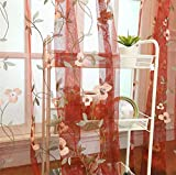 Red Floral Embroidered Sheer Curtains for Living Room Rod Pocket Retro Voile Drapes for Living Room 52 x 84 Inch 1 Panel
