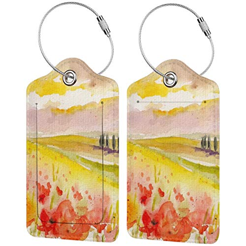 Watercolor Poppies and Church Personalized Leather Luxury Suitcase Tag Set Travel Accessories Luggage Tags