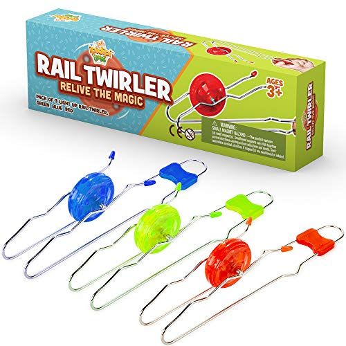 Retro Magic Rail Twirler - 3 Pack - Light Up Magnetic Stocking Stuffers For Kids - Sensory Toy With Spinning Wheel and Flashing LEDs | Rail Twister Vintage Fidget Toy for Adults & Children | 3 Colors