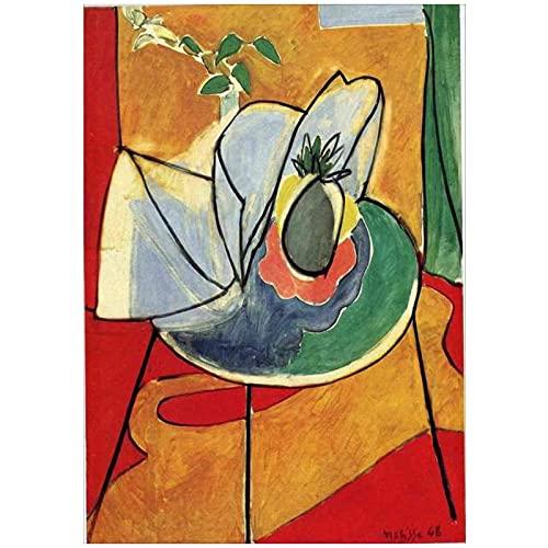 Nbqwdd Vino Tinto Francia Henri Matisse Fauvismo Arte De La Pared Decoración De La Pared Imágenes Pintura De La Lona Cartel Retro Decoración del Hogar Regalo Familiar-50X70Cmx1 Sin Marco