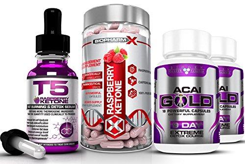 T5 Raspberry Ketones Serum (30ml) + Raspberry Ketone Diet Pills (60caps) + Acai Berry Gold (2x19caps) Maximum Strength Slimming/Weight Loss & Detox Bundle