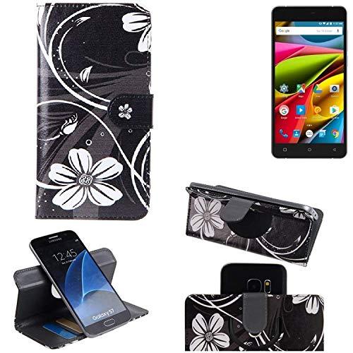 K-S-Trade® Schutzhülle Für Archos 55b Cobalt Lite Hülle 360° Wallet Case Schutz Hülle ''Flowers'' Smartphone Flip Cover Flipstyle Tasche Handyhülle Schwarz-weiß 1x