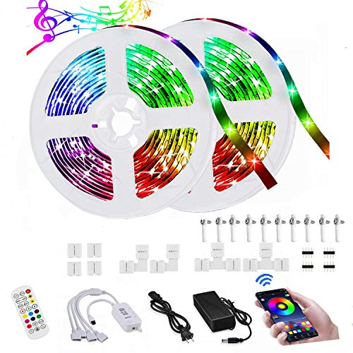 LED Strip Lights for Bedroom,32.8ft LED Light Strip with Bluetooth Remote and 12V Power Supply,Wireless Smart App Control,RGB LED Light Strip Kit Music Sync for Home, Bedroom, Kitchen,DIY Decoration¡